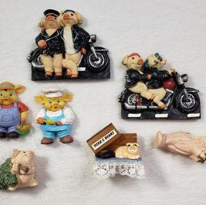 Pig refrigerator magnet set of 7 hogs motorcycles